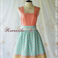 Jazzie III - Gorgeous Rockabilly Dress Peach/Mint Blue Color Polka Dot Dress Pale Peach Top Tea Dress Party Dress Day Dress