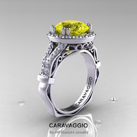 Caravaggio 14K White Gold 3.0 Ct Yellow Sapphire Diamond Engagement Ring, Wedding Ring R620-14KWGDYS