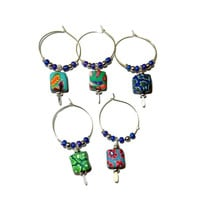 Colorful Floral Polymer Clay Beaded Wine Charms