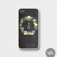 iPhone 5 Case Chalkboard with Floral Wreath Personalized Initial Chalkboard iPhone 5S Case, iPhone 4/4S Case, iPhone 5C Case