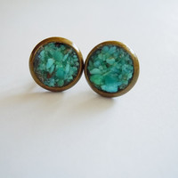 BLACK FRIDAY SPECIAL Purchase -Turquoise Stud Earrings - Crushed Raw Gemstones - December Birthstone