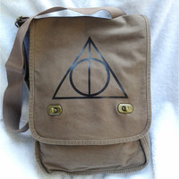 Deathly Hallows Messenger Bag Harry Potter Brown Canvas Messenger Field Bag