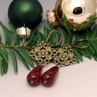 Red Teardrop Earrings - Holiday Jewelry