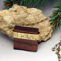 Square Wood Necklace with budding branches