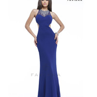 (PRE-ORDER) Faviana 2014 Prom Dresses - Soft Navy Chiffon Necklace Halter Prom Dress