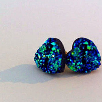 BLACK FRIDAY SALE - Blue Druzy Hearts Earrings