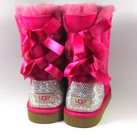 Hot Pink Ugg Bailey Bows with Swarovski Crystal Embellishment Adult Sizes - Winter/Holiday 2013