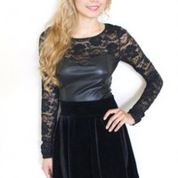 Black Velvet High Waisted Flare Skirt