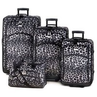 4-Piece Black & White Snow Leopard Print Luggage Set NIP