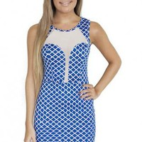 Blue & White Criss Cross Print Bodycon Dress with Mesh Detai