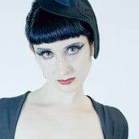 Melt Mini Hat- Black Organic Cotton- Made to Order- 50s Retro