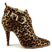 Leopard Print Ankle Booties with Buckle Detail
