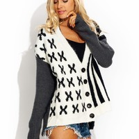 X-And-Stripes-Cardigan BLACKWHITE - GoJane.com
