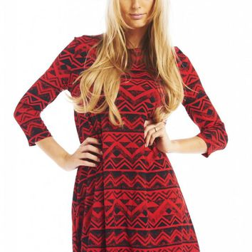 Red Long Sleeve Aztec Print Swing Dress