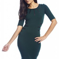 Green Bodycon Dress with Faux Leather Detail