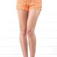 Orange Crochet Lace Overlay Shorts | MakeMeChic.com