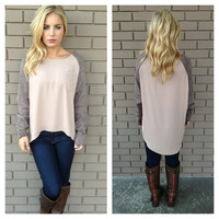 Lilac & Blush Knit Sleeve Sweater Blouse