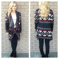Black Fall Tetris Thick Knit Cardigan