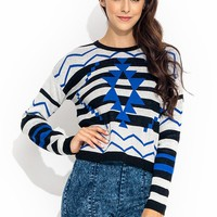 Tribal-Borders-Intarsia-Sweater BLUEBLACK - GoJane.com