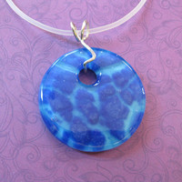 Blue Necklace, Fused Glass Necklace Catching Jewelry, Fashion Jewelry - Cylon - 4280 -3