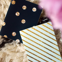 SPECIAL EDITION glitter and gold mini blank notebook jotter two pack