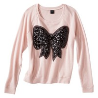 Junior's Sequin Bow Sweatshirt - Pale Blush