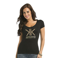 Kardashian Kollection- -Women's T-Shirt - Studded Logo-Clothing-Women's-Tops