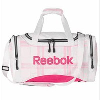 Reebok Pink Plaid Duffle Gym Bag - Medium Size