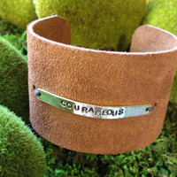 Leather cuff hand stamped bracelet pearl closure