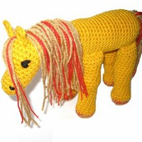 Crocheted Handmade Stuffed Fantasy Horse Golden Yellow with Red Sparkles from StarlightSarah