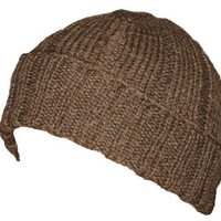 WWII Knitted Brown Wool Beanie Made From 1940 WW2 Knitting Pattern