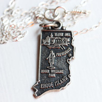 State Charm Necklace - Rhode Island