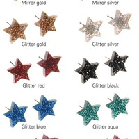 Mirror and Glitter Star Charm Earrings