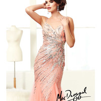 (PRE-ORDER) Mac Duggal 2014 Prom Dresses - Peach Fizz Rhinestone Beaded & Sequin Sweetheart Long Mermaid Gown