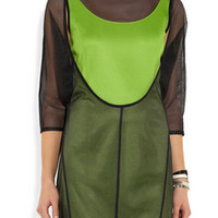 Junya Watanabe Layered mesh and neon jersey mini dress – 79% at THE OUTNET.COM