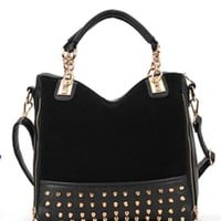 Black Trendy Quilted Versatile Studded Straps Office Tote Rivet Handbag Hobo Top Double Handle Satchel Handbag Purse Shoulder Bag with Strap