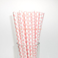 50 Coral Pink Checkered Paper Straws Baby Pink Light Pink with Free Printable Flags