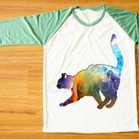 Galaxy Cat T-Shirt Cat Shirt Animal Shirt Galaxy Shirt Green Sleeve Tee Shirt Women T-Shirt Men T-Shirt Unisex T-Shirt Baseball Shirt S,M,L