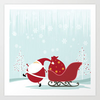 Happy Santa Art Print by MadTee
