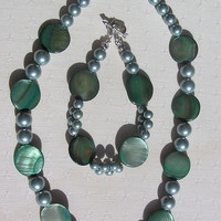 "Necklace & Bracelet Set - Green Mother of Pearl and Shell Pearl - ""Evergreen"" - Special Offer Price"