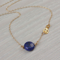 "Peace sign necklace, Lapis lazuli necklace, peace necklace, dark blue necklace, lapis necklace, gemstone necklace, blue gold, ""Euryale"""