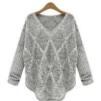 Grey Diamond Knit Sweater