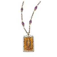 "Hand-painted Peruvian ""Reliquary"" Necklace"