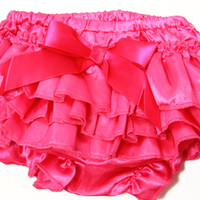 Kutsie Baby Hot Pink with Bow Satin Bloomers