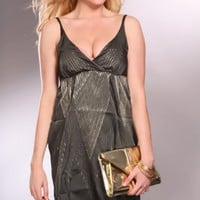 Olive Multi Shimmer Detail V-Neck Sexy Dress