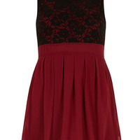 Burgundy lace and pleats dress
