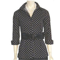 1980s Black White Polka Dots Blouse Wide Belt NWT