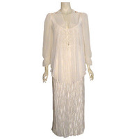 Vintage Just Flora White Sheer Pleated Nightgown & Jacket Peignoir NWT