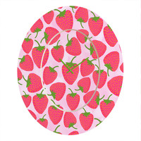 Lisa Argyropoulos Strawberry Sweet In Pink Oval Clock