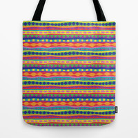 Stripey-Crayon Colors Tote Bag by Groovity